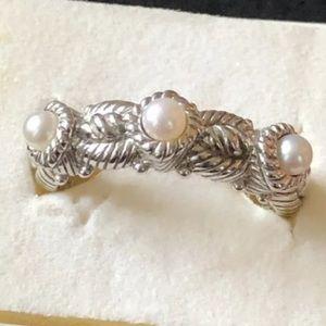Judith Ripka Triple Pearl Sterling Ring